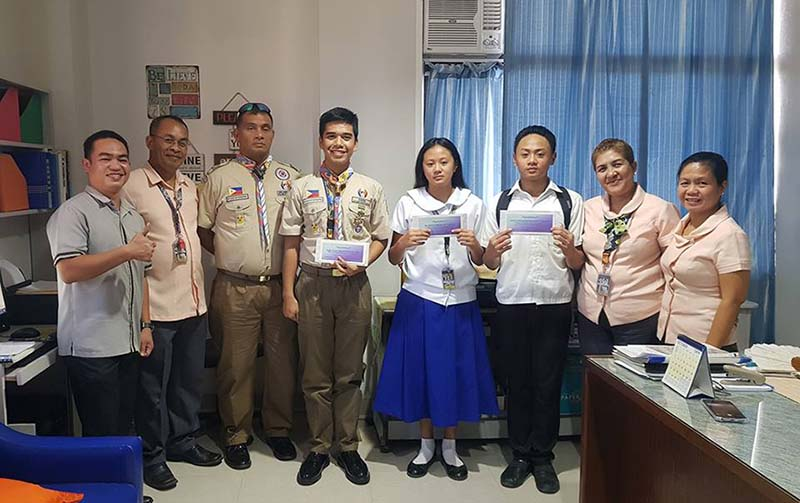 The Vice President for Academic Affairs, Dr. Neyrma Neyra-Cabatac, awarded this morning the SCC's LOVE GIFTS of P5,000 each to John Alexander Michale Talosig, Jie Angela Mikaela Talosig and Eagle Scout Allen Dave Mecarandayo Capa for they brought pride and honor to Southern Christian College.