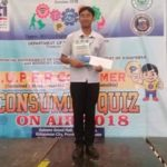 Gueen John D. Davila, a JHS Grade 9 student, for winning FIRST PLACE in the DTI Consumer Quiz on Air 2018 held yesterday in Gaisano Grand Lobby, Kidapawan City