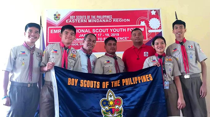 Scouts Ceasar Ian Quinoñes and Jaya Mae Sarte for being 1st and 2nd placers, respectively out of 26 participants during the representative selection of Eastern Mindanao Regional Scouts Youth Forum held in Davao City on January 17 to 18, 2019.