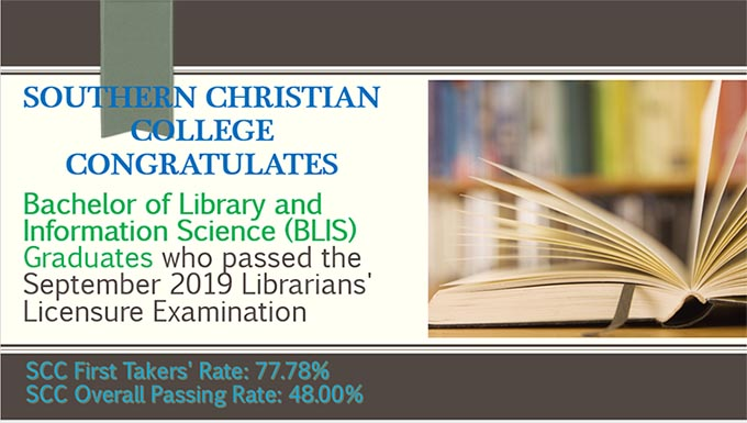 Congratulations to the following Bachelor of Library and Information Science (BLIS) Graduates who passed the September 2019 Librarians' Licensure Examination